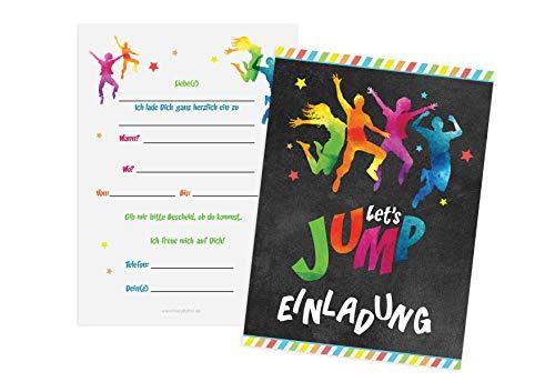 Friendly Fox Jump Party Einladung - 12 Trampolin Einladungskarten zum Geburtstag Junge Mädchen Teenager - Einladungskarten Kindergeburtstag - Jump Park Party - Trampolin Kinder (bunt)