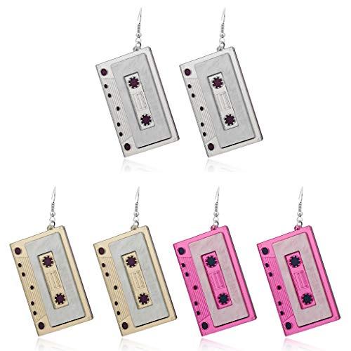 WTALL 3 pares de cintas de cassette retro para colgar lindos pendientes de gota para mujer joyería de moda