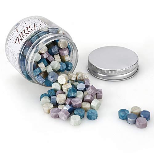 MOPOIN Sello Lacre, MOPOIN 180 Piezas Cera de Sellado Octagonal Perlas de Cera de Sellado Sellos de Cera Sello Cera para Sellar y Decorar Cartas e Invitaciones (Mezcla de colores)