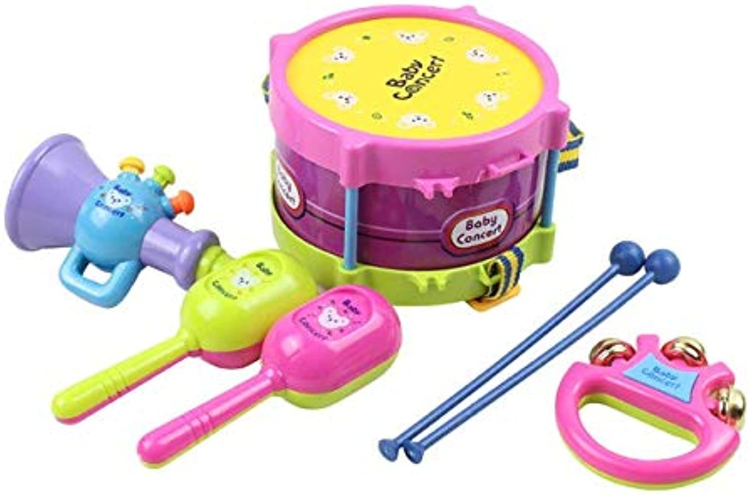 5Pcs Set Baby Roll Drum Toy Musical Instruments Kids Drum with Drum Sticks Set Education Gift Toy  color Random   color Random