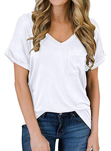 MIHOLL Short Sleeve V Neck T Shirts Casual Loose Plain Basic Tee Tops Blouse Pocket (White, Small)