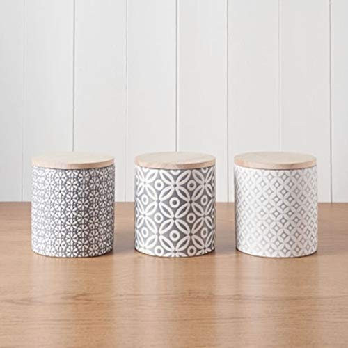 Embossed Honeycomb Storage Canisters with Bamboo Lid for Tea,Coffee & Sugar 3pc - Geometric
