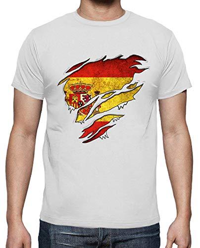 latostadora - Camiseta Corazón Español para Hombre Blanco 3XL