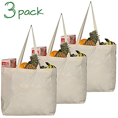 Greenmile Canvas Grocery Shopping Bags with Extra Strong Handles | Holds 40 lbs | Heavy Duty, Eco Friendly, Durable, Reusable Bag