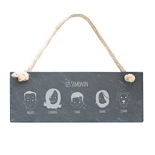 Plaque de porte personnalisée - Family Circus - Ardoise rectangulaire à suspendre, 10 x 25 cm - Idée cadeau déco originale