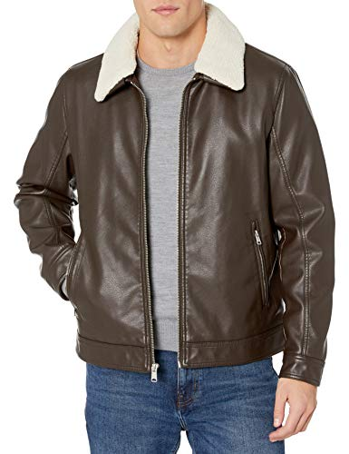 Tommy Hilfiger Men's Classic Faux Leather Jacket with Removable Sherpa Collar, Dark Brown/Cream, Small