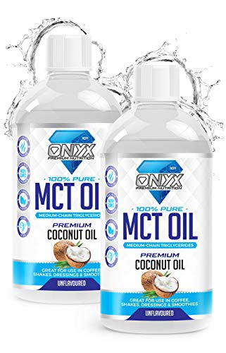 Onyx MCT Oil 500ml High Potency C8 & C10 Premium Coconut Oil Ketones Booster - Suitable for Ketogenic, Paleo, Vegan & Low Carb Diet (2 x 500ML Pure MCT Oil (unflavoured))