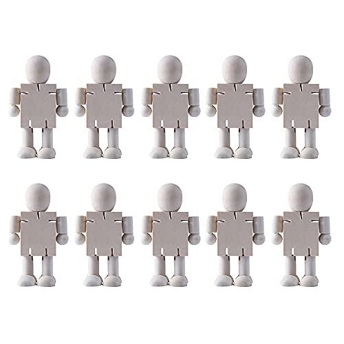 YeenGreen 10 Stück Holzfiguren Figures, Klein Figuren Holzfiguren, Holzpuppen Zum Bemalen, Figuren für DIY Holzfiguren Hochzeit Geburtstag Dekoration Malerei Handwerk Holz