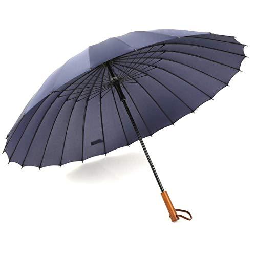 WAVENI Ombrello Dritto da Uomo in midollino da 24 Iarde Adulto Manico Dritto in Legno (Color : Blue)