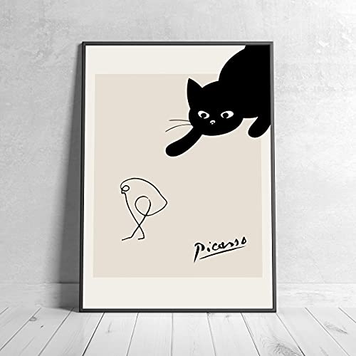 アート ポスター オシャレ インテリア ピカソ 猫 イラスト 北欧風 フレーム 額 有or無 B020 (42×30センチ(A3サイズ), フレーム無し)