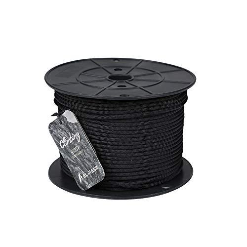 QDTD Cuerda Cuerda De Seguridad Multifuncional 4mm Cuerda, Cuerda De Escalada Estática, Cuerda De Escalada, Línea De Vida De Cordón De Paracaídas, Emergencia De Incendio, Correa De Perro(Negro)