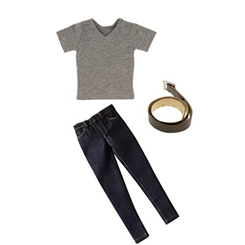 ZSMD 12'' Male Figure Accessories - 1/6 Scale Clothes T-shirt jeans met riem Set