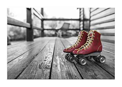 Wandhelden - modernes Leinwandbild auf Keilrahmen, Verschiedene Größen (auch XXL) - in Thüringen gefertigt – Cooles Sportbild: Vintage Rollschuhe in Rot - Foto Kunstdruck auf Leinwand (80 x 120 cm)