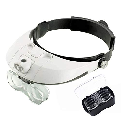 BBGGJ Lighted Head Magnifying Glasses Visor Headset with Light Headband Magnifier Loupe Hands-Free for Close Work