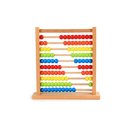 XXHDEE Children's Wooden Computing Frame Puzzle Early Teaching Mathematics Teaching Aids Beech Wooden Ten-Color Rainbow Abacus Toy, 30x7.5x31.5cm Toy Gift