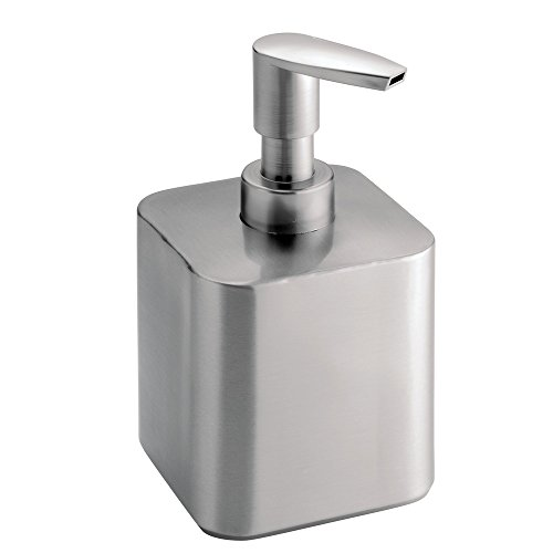 iDesign Gia Short Metal Soap Dispenser Pump for Body Moisturizer Sanitizer or Aromatherapy Lotion in Bathroom Kitchen Bedroom Vanity 35 x 325 x 55 - Brushed Stainless Steel