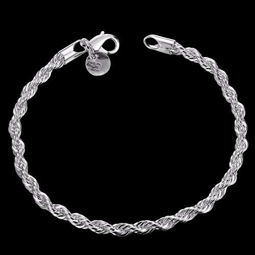 Sterling zilveren Armband Dames, Glamour Lady 925 Sterling zilveren Retro Armband Eenvoudige Mode 4 Mm Twisted Touw Ketting Gepersonaliseerde zilveren Armband Elegante Sfeer Comfortabele Eenvoudige Kerst Eng