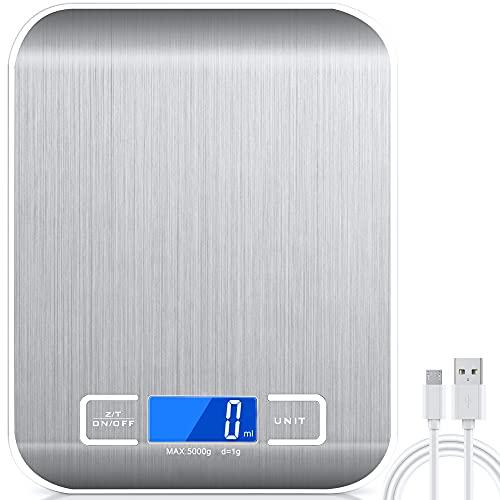 Balance Cuisine Electronique Precision 0,001 kg - Raniaco Rechargeable/Batterie Acier Inoxydable Balance Numérique de Cuisine Optiss 5kg/11lb Fonction Tare Conversion Liquide Auto-arrêt avec Câble USB