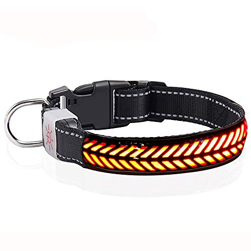 MySixKeen Collar de perro LED recargable por USB Light Up Safety PU Collar de piel para perros medianos y grandes