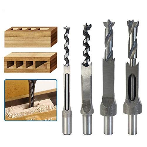 4Stücke Vierkantbohrer -Loch Set quadratisch Bohrer KIt Bohrer Stemmen Drehungsbohrer Werkzeuge für Einsteckbohrmeißel DIY-Holzbearbeitung, Lochöffnung, Bohrwerkzeuge(6,4mm / 8mm / 9,5mm / 12,7mm)