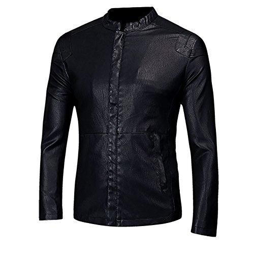 LISUEYNE Herren Lederjacke Mens PU Leder Jacken BiSHE Slim Smart Fit Fleece Harrington Jacke Mantel,Schwarz02,L