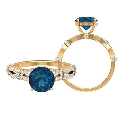 Anillo de compromiso de topacio azul Londres, piedras preciosas redondas de 2,61 quilates, anillo de solitario de diamante HI-SI de 8 mm, anillo de espiral de oro, 10K Oro amarillo, Size:EU 59