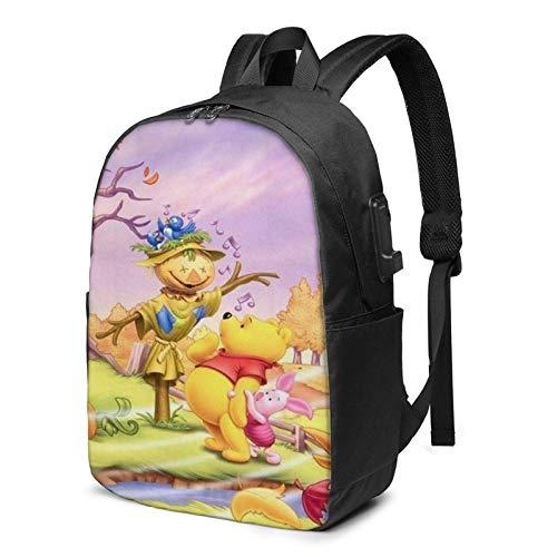 W-innie P-ooh Herbst-Cartoon-Laptop-Rucksäcke - mit USB-Ladeanschluss/stilvollem lässigem wasserdichtem Rucksack für die meisten 17-Zoll-Laptops und -Tablets