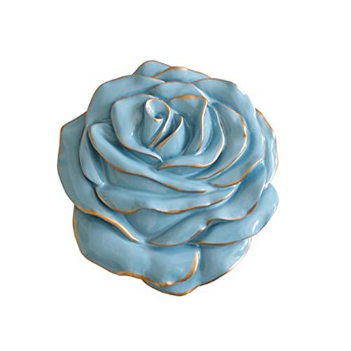 GHJGHJ Pegatinas de Pared Resina Rose Flor Mural Artesanía para la Pared Sala de Estar Dormitorio TV Fondo Decoración de Pared para el hogar Decorativo (Color : Blue S)