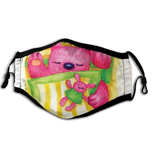 LISNIANY Gesichtsbedeckung,Nettes Baby Kaninchen schläft im Bett mit Teddybär Häschen Zeichentrickfigur,Sturmhaube Unisex Wiederverwendbar Winddicht Staubschutz Mund Bandanas Outdoor Camping Motorrad