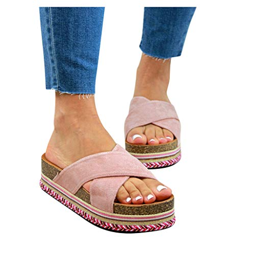 Best Buy! Dainzusyful Women Open Toe Criss-Cross Strap Slide Sandals Casual Slip On Roman Slippers S...