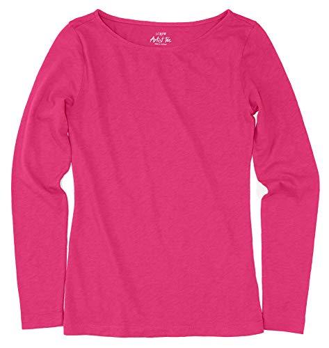 J.Crew Factory Women's - Long Sleeve Artist Tee (Medium, Pink)
