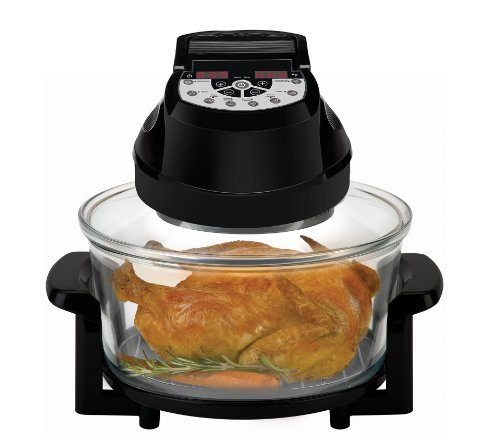 Big Boss Rapid Wave Halogen Infrared Convection Countertop Oven - 16 Quart with Extender Ring Glass Bowl - Digital Presets