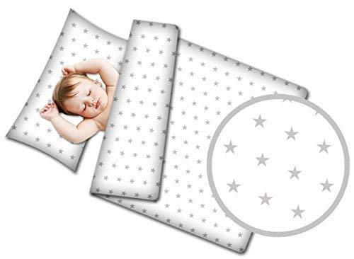 Kinderbettwäsche Bettwäsche baby Set - 90 x 120 cm Babybettwäsche kuschelig 2 teilig mit Kissenbezug 40x60 cm 100% Baumwolle weiß mit Sternen