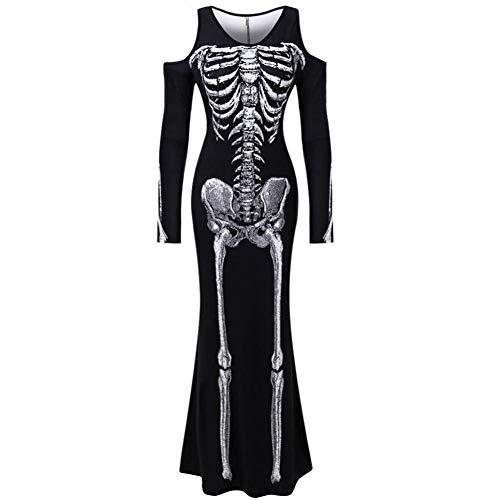 ERFD&GRF Frauen nehmen langes Hülsen-Skelett-menschliches Druck-Kleid-erwachsenes Oansatz Cosplay Halloween kleidet Kostüm Disfraz Mujer # 15F, Schwarzes, S ab