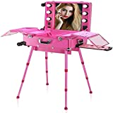 N \ A Makeup Trolley Box,Portable Beauty Cosmetic Organizer Box with 6 Lights...
