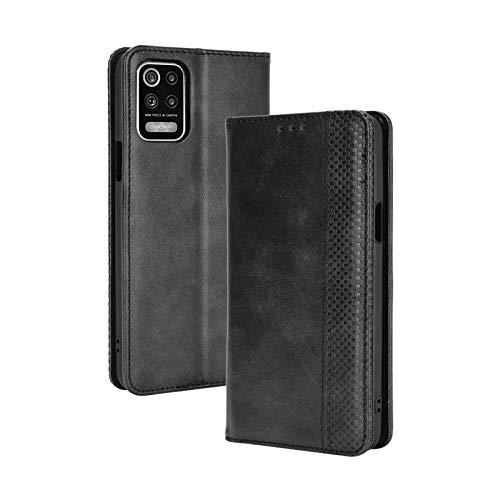 KERUN Hülle für LG K52 /LG K62, Leder Flip Klappbar Lederhülle, TPU Folio Flip Wallet Cover Stand [Kartenslots] Schutzhülle Hülle für LG K52 /LG K62. Schwarz