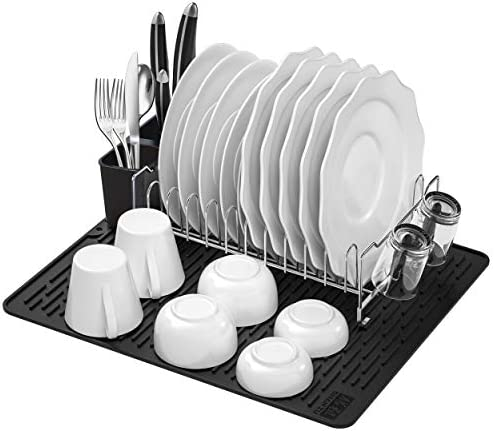 Dish Drying Rack with Mat SHAN ZU Kitchen Compact Modern 304 Stainless Steel Dish Drainers Dish product image