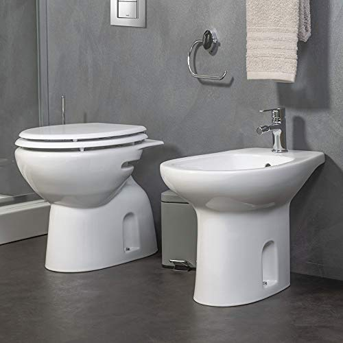 Inbagno Coppia Sanitari Tradizionali RAK in Ceramica Bianco in Set WC + Bidet + Sedile COPRIWC