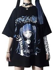 レディース tシャツ 半袖 原宿系 ストリート系 カットソー かっこいい アニメ プリント チュニック 大きいサイズ