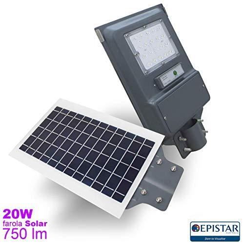 EEKLUX Farola Solar LED 20W 750lm Exterior IP65 luz fría 6000ºK, Sensor crepuscular y de Movimiento, 20 W, Gris Oscuro, pequeña