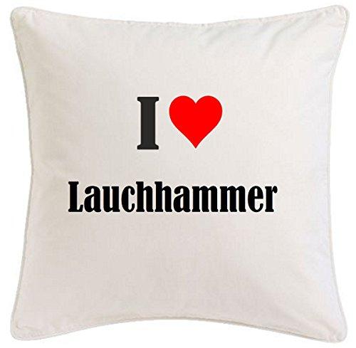 Kissenbezug I Love Lauchhammer 40cmx40cm aus Mikrofaser geschmackvolle Dekoration für jedes Wohnzimmer oder Schlafzimmer in Weiß mit Reißverschluss