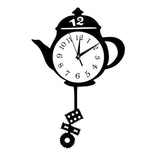 Living Room Durable Quiet Dustproof Wall Clock Teapot Whimsical Pendulum Wall Clock Home Decor Kitchen Hanging Wall Watch with Tea Bag Cookie Swinging Pendulum Tearoom Decor