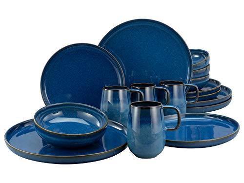 Creatable, 23186 Serie uno Atlantico - Vajilla (16 piezas, gres, porcelana)