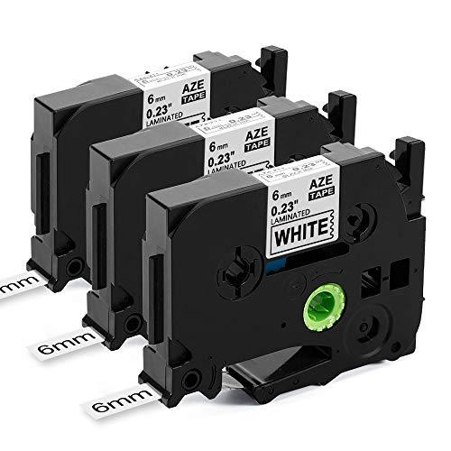 Upwinning kompatibel Schriftbänder als Ersatz für Brother P-touch TZe-211 6mm schwarz auf weiß Laminiert Etikettenband, AZe211 TZ 221 Schriftband for Ptouch h100r h105 900 1000 1010 1280 D400, 3x