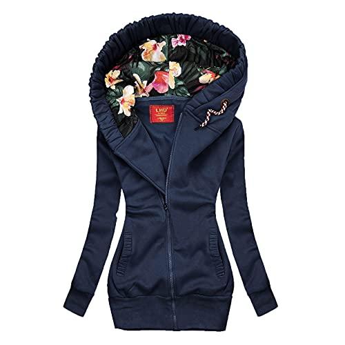 Chaqueta con capucha para mujer, ligera, parka, chaqueta de invierno, manga larga, sudadera con capucha, cremallera a la moda, abrigo de invierno, monocolor, chaqueta cálida para exterior, marine, XL