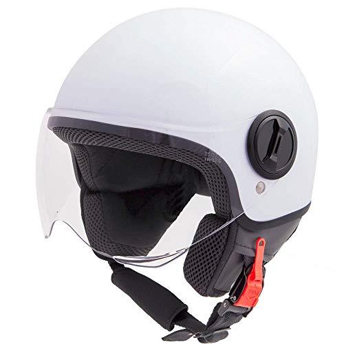 Vinz Sole Roller Helm Jethelm Fashionhelm   in Gr. XS-XL   Jet Helm mit Visier   ECE Zertifiziert  Motorradhelm Basic   Weiß