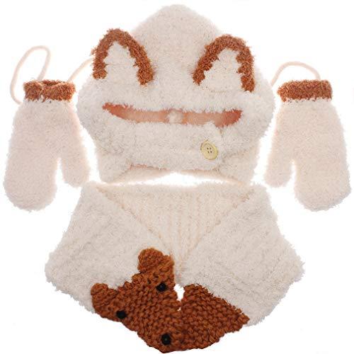 DEMU 3-delige kindermuts sjaal handschoenen set gehaakt wintermutsen voor baby's gebreide muts