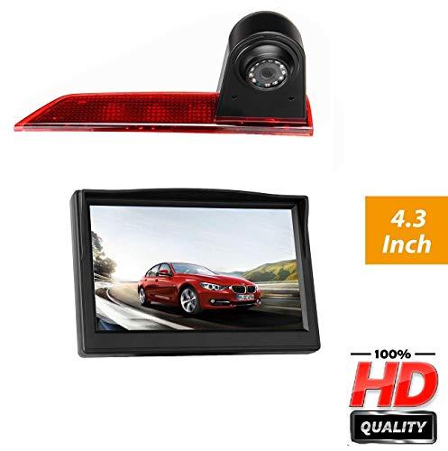 """Dachkante Rückfahrkamera integriert in 3. Bremsleuchte Transporter Kamera Set für Ford Transit Custom V362 (2012-04/2018) + 4,3\"""" Zoll DVD Monitor TFT KFZ LCD Display"""