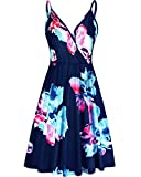 STYLEWORD Women's V Neck Floral Spaghetti Strap Summer Casual Swing Dress with Pocket(Floral10,L)