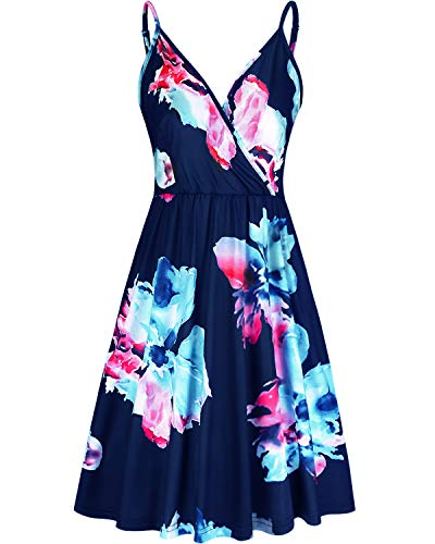 STYLEWORD Women's V Neck Floral Spaghetti Strap Summer Casual Swing Dress with Pocket, Floral